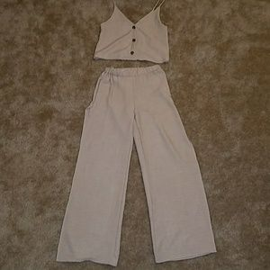 Palazzo pant crop top set with slits on both legs.